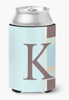 Buy this Letter K Initial Monogram - Blue Stripes Can or Bottle Beverage Insulator Hugger