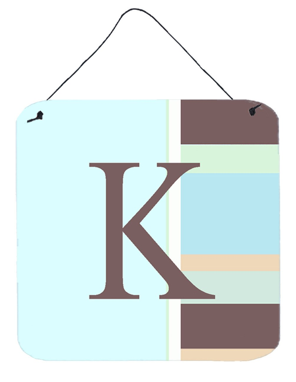 Letter K Initial Monogram - Blue Stripes Wall or Door Hanging Prints by Caroline's Treasures