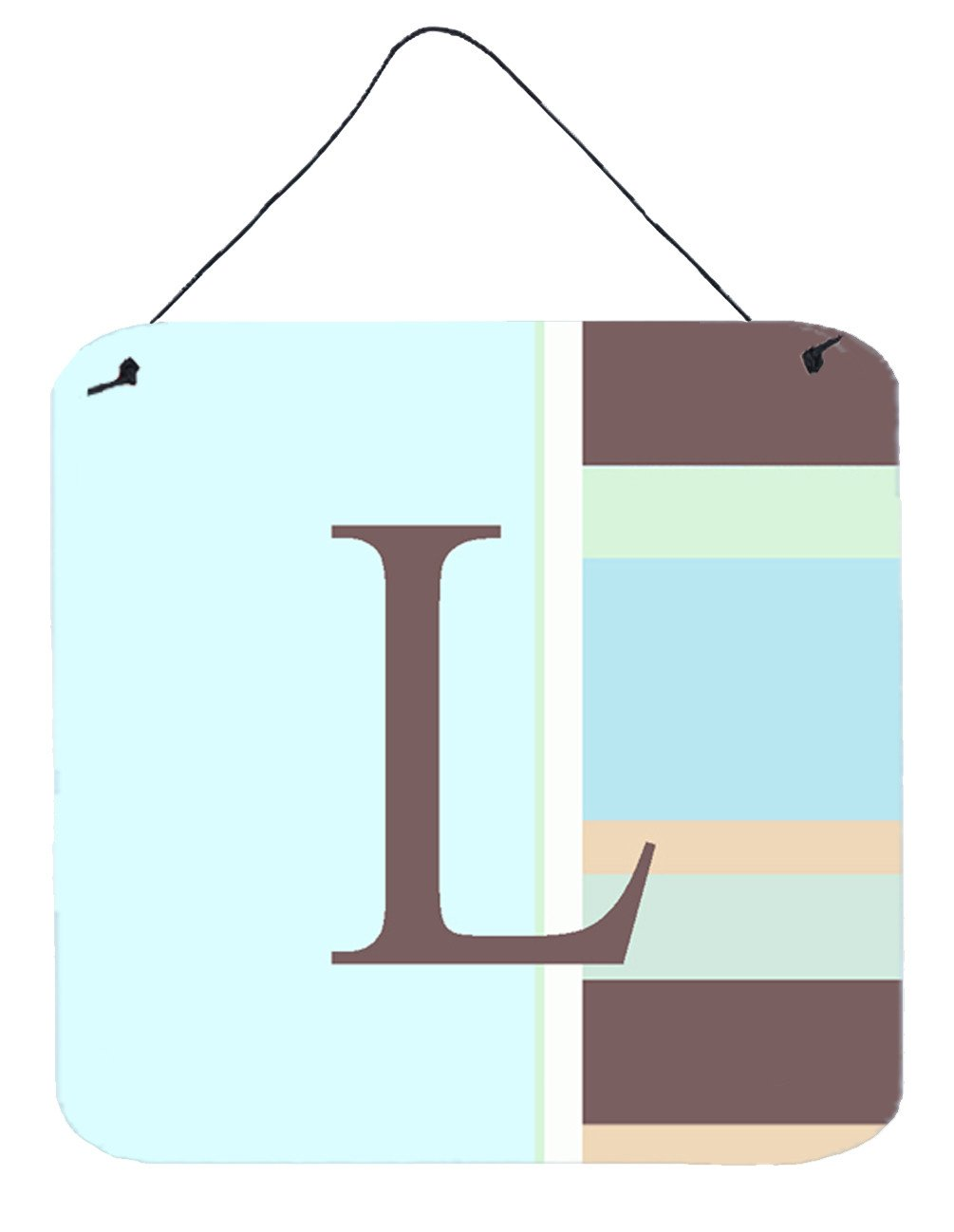 Letter L Initial Monogram - Blue Stripes Wall or Door Hanging Prints by Caroline's Treasures