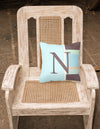 Letter N Initial Monogram - Blue Stripes Decorative   Canvas Fabric Pillow - the-store.com