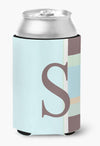 Buy this Letter S Initial Monogram - Blue Stripes Can or Bottle Beverage Insulator Hugger