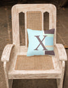 Letter X Initial Monogram - Blue Stripes Decorative   Canvas Fabric Pillow