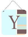 Letter Y Initial Monogram - Blue Stripes Wall or Door Hanging Prints by Caroline's Treasures