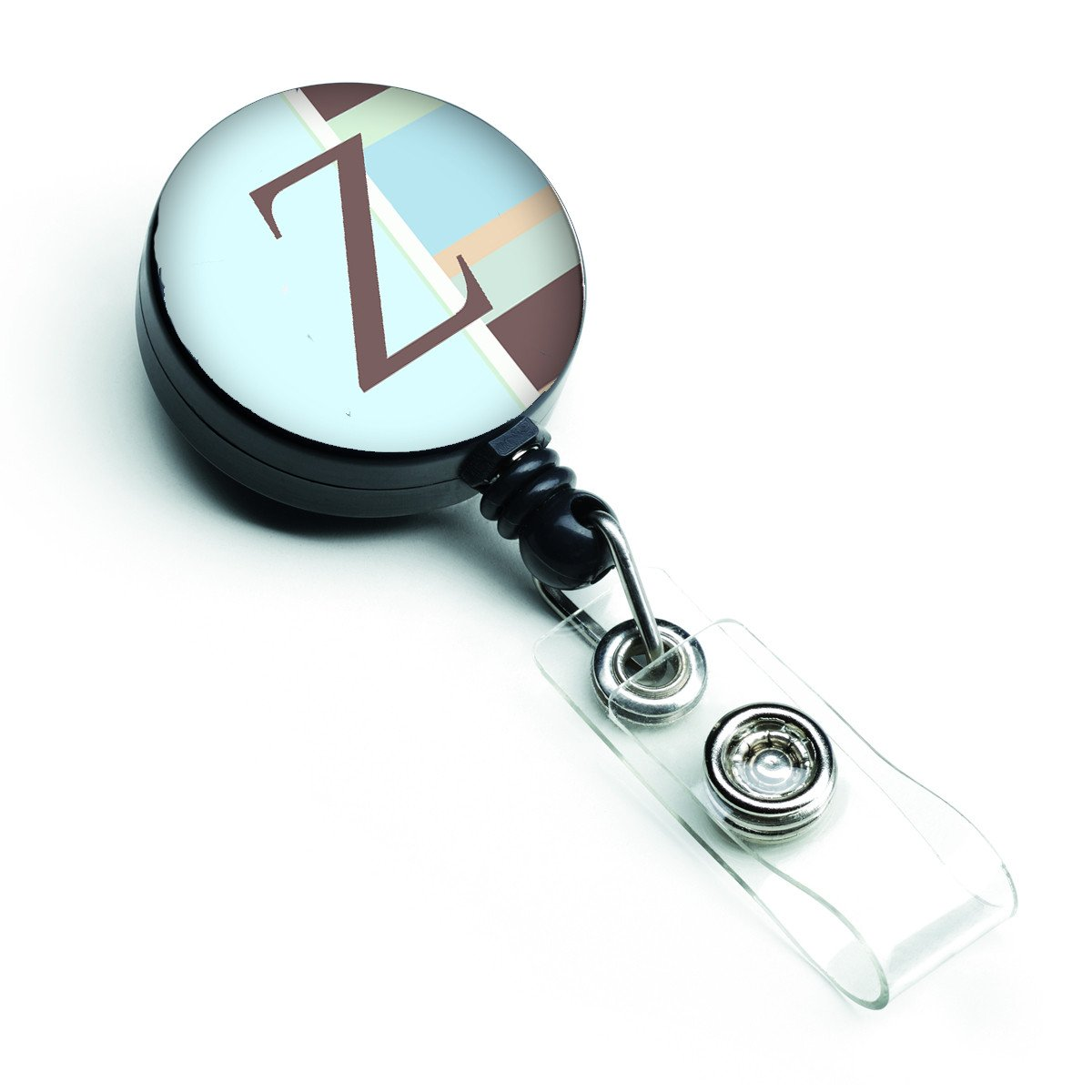Letter Z Initial Monogram - Blue Stripes Retractable Badge Reel CJ1003-ZBR by Caroline's Treasures