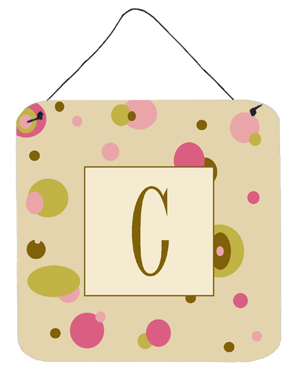 Letter C Initial Monogram - Tan Dots Wall or Door Hanging Prints by Caroline's Treasures