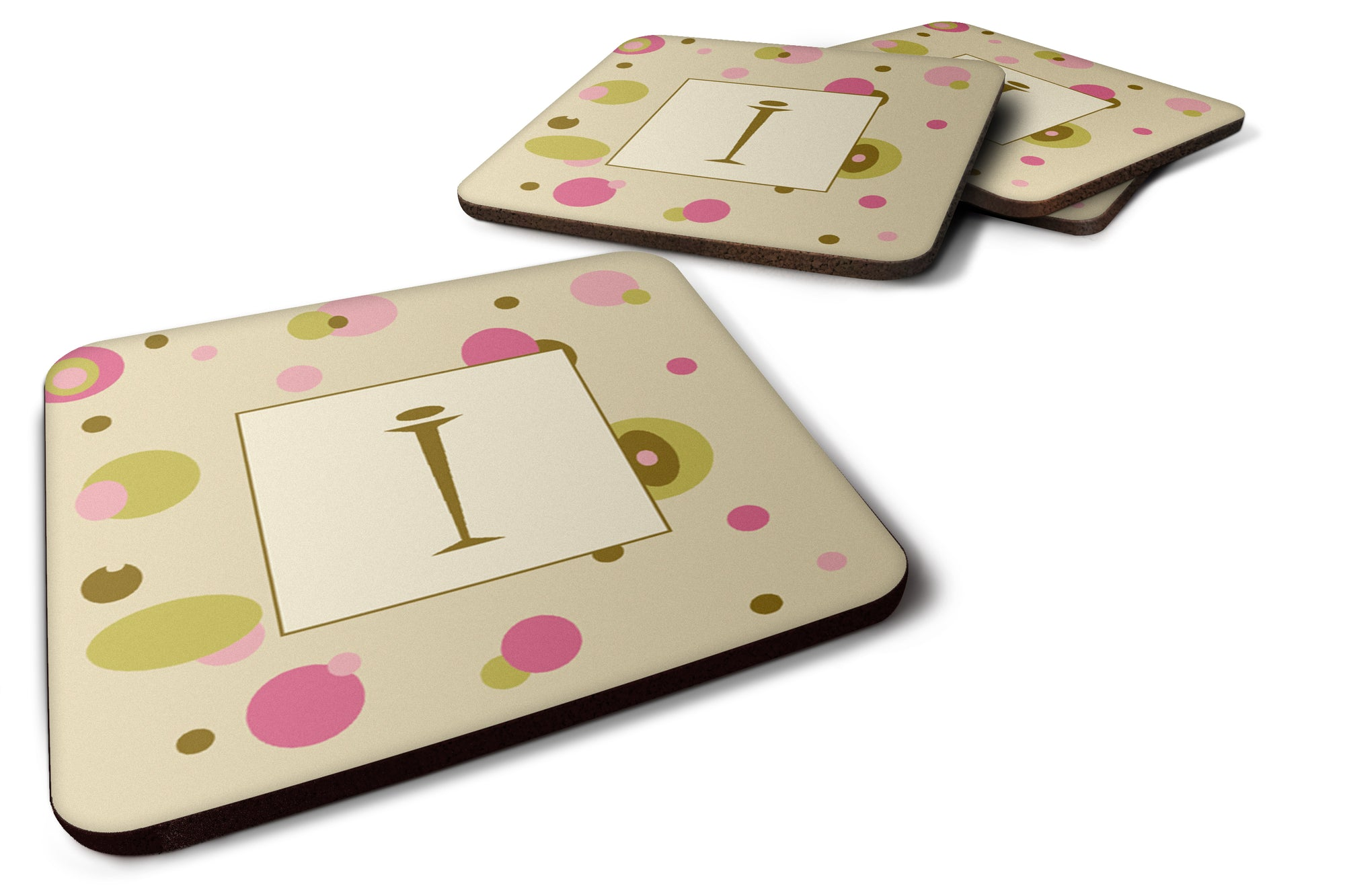Set of 4 Monogram - Tan Dots Foam Coasters Initial Letter I by Caroline's Treasures