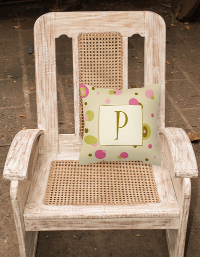 Letter P Initial Monogram - Tan Dots Decorative   Canvas Fabric Pillow