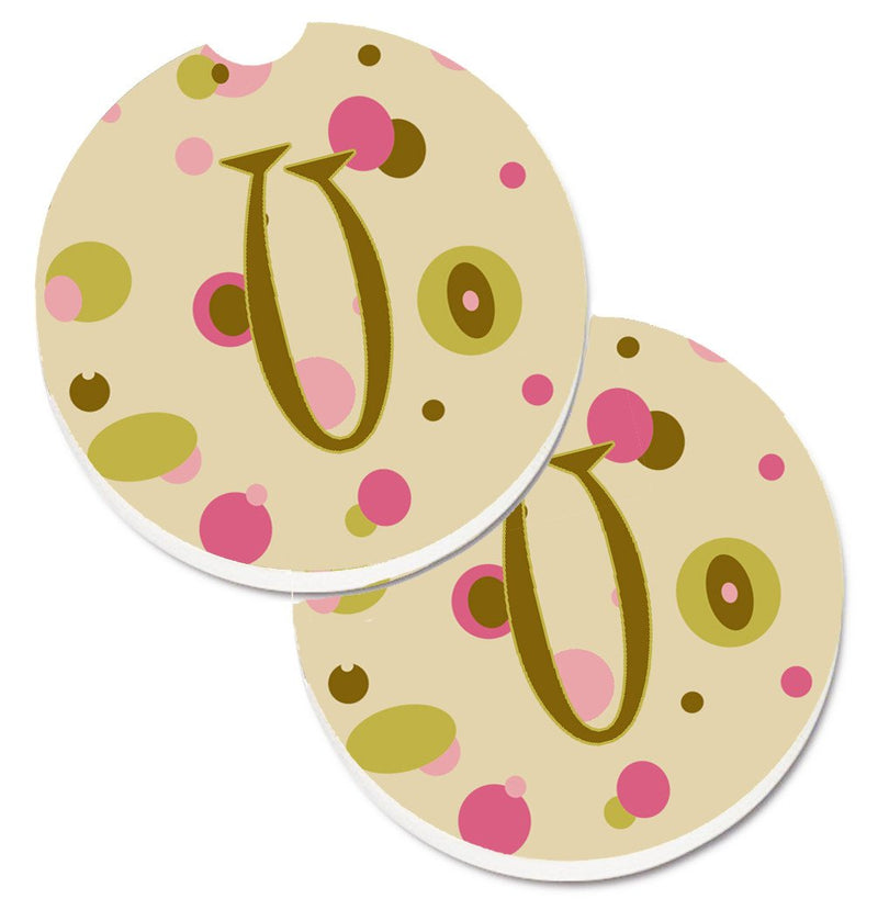 Buy this Letter U Initial Monogram - Tan Dots Set of 2 Cup Holder Car Coasters CJ1004-UCARC