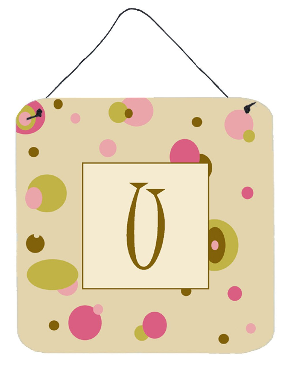 Buy this Letter U Initial Monogram - Tan Dots Wall or Door Hanging Prints