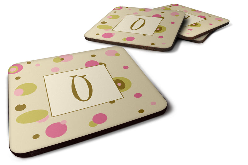 Buy this Set of 4 Monogram - Tan Dots Foam Coasters Initial Letter U