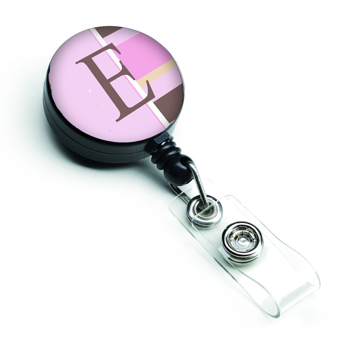 Letter E Initial Monogram - Pink Stripes Retractable Badge Reel CJ1005-EBR by Caroline's Treasures