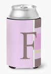 Letter F Initial Monogram - Pink Stripes Can or Bottle Beverage Insulator Hugger by Caroline's Treasures
