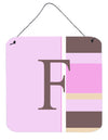 Buy this Letter F Initial Monogram - Pink Stripes Wall or Door Hanging Prints