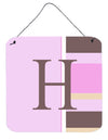 Buy this Letter H Initial Monogram - Pink Stripes Wall or Door Hanging Prints