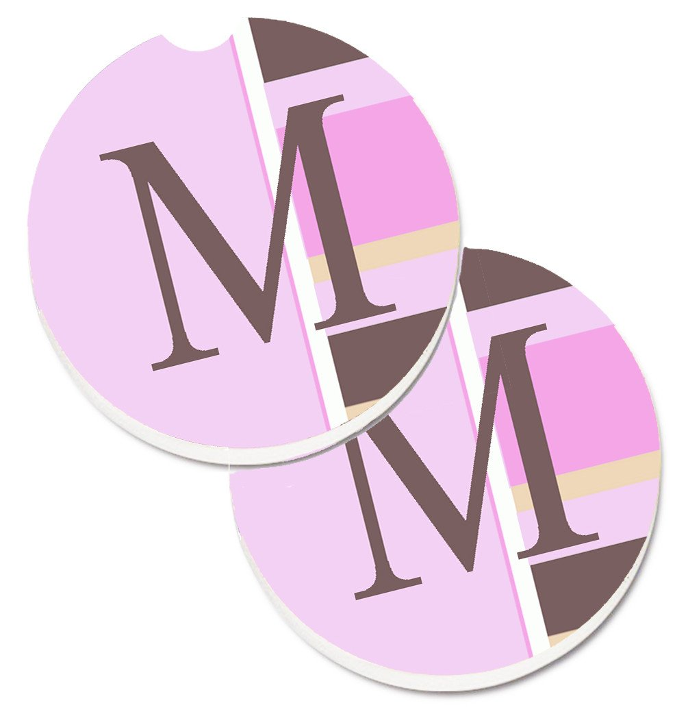 Letter M Initial Monogram - Pink Stripes Set of 2 Cup Holder Car Coasters CJ1005-MCARC by Caroline's Treasures
