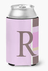 Letter R Initial Monogram - Pink Stripes Can or Bottle Beverage Insulator Hugger by Caroline's Treasures