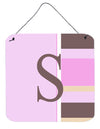 Letter S Initial Monogram - Pink Stripes Wall or Door Hanging Prints by Caroline's Treasures