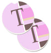 Letter T Initial Monogram - Pink Stripes Set of 2 Cup Holder Car Coasters CJ1005-TCARC by Caroline's Treasures