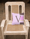 Letter V Initial Monogram - Pink Stripes Decorative   Canvas Fabric Pillow