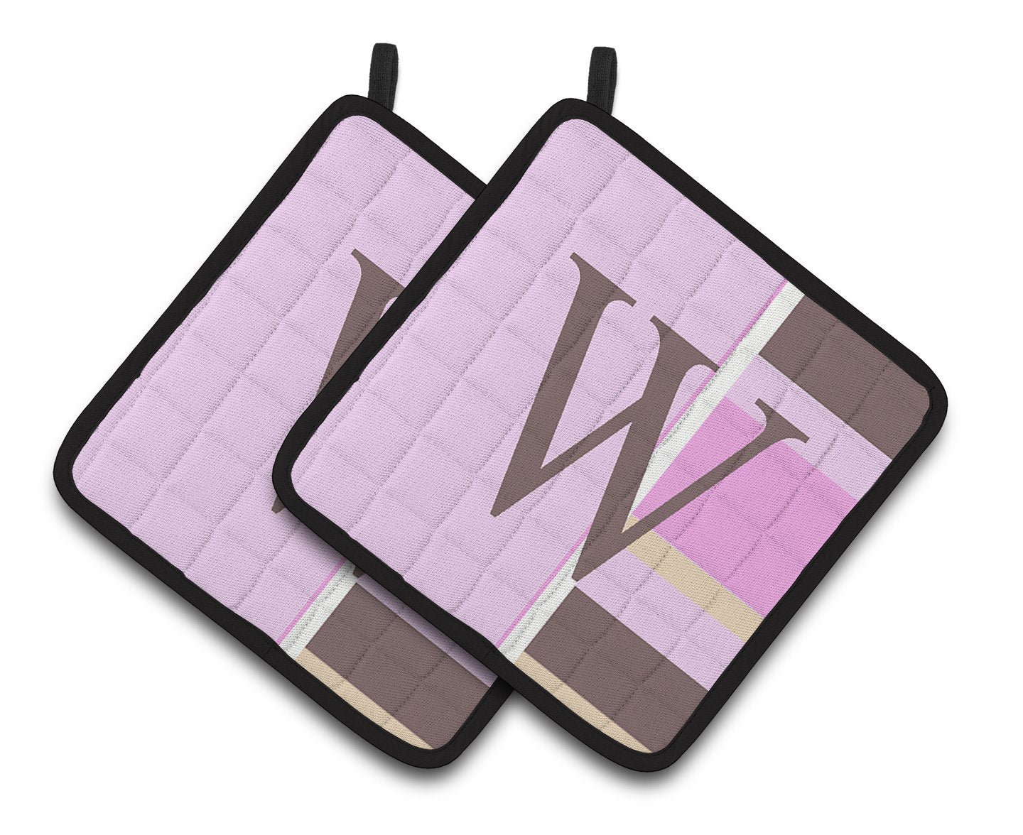 Buy this Letter W Initial Monogram - Pink Stripes Pair of Pot Holders