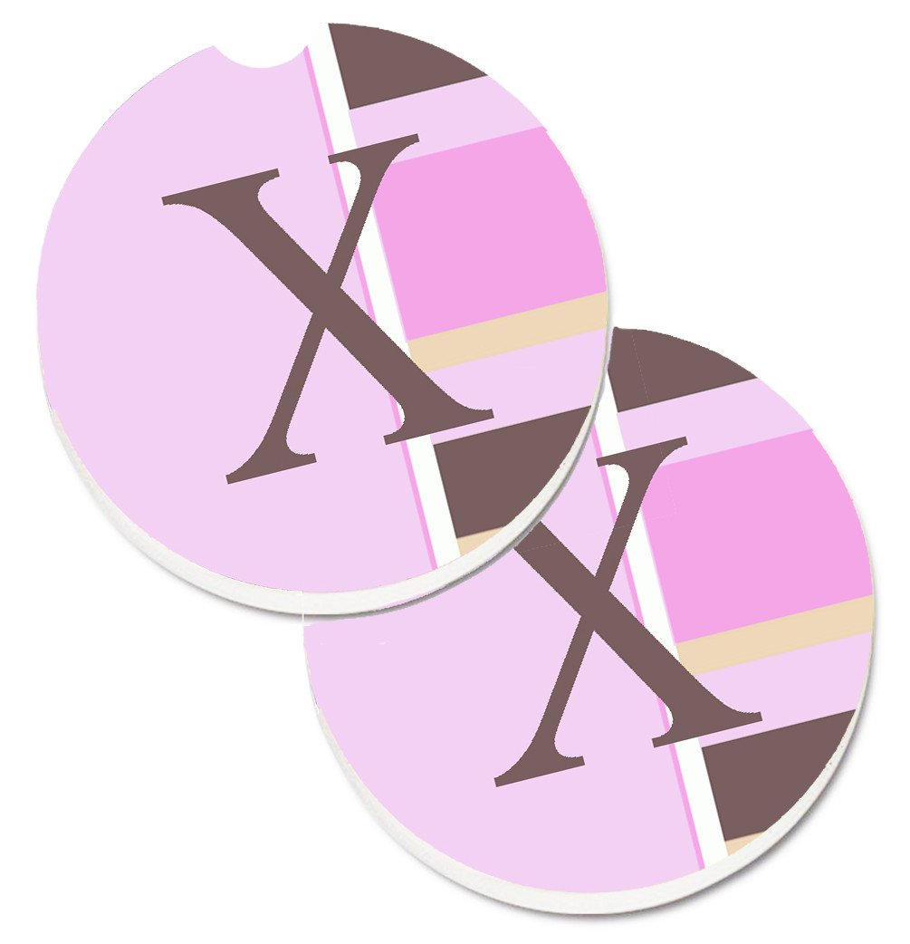 Buy this Letter X Initial Monogram - Pink Stripes Set of 2 Cup Holder Car Coasters CJ1005-XCARC