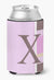 Buy this Letter X Initial Monogram - Pink Stripes Can or Bottle Beverage Insulator Hugger