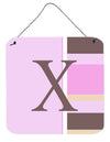 Buy this Letter X Initial Monogram - Pink Stripes Wall or Door Hanging Prints