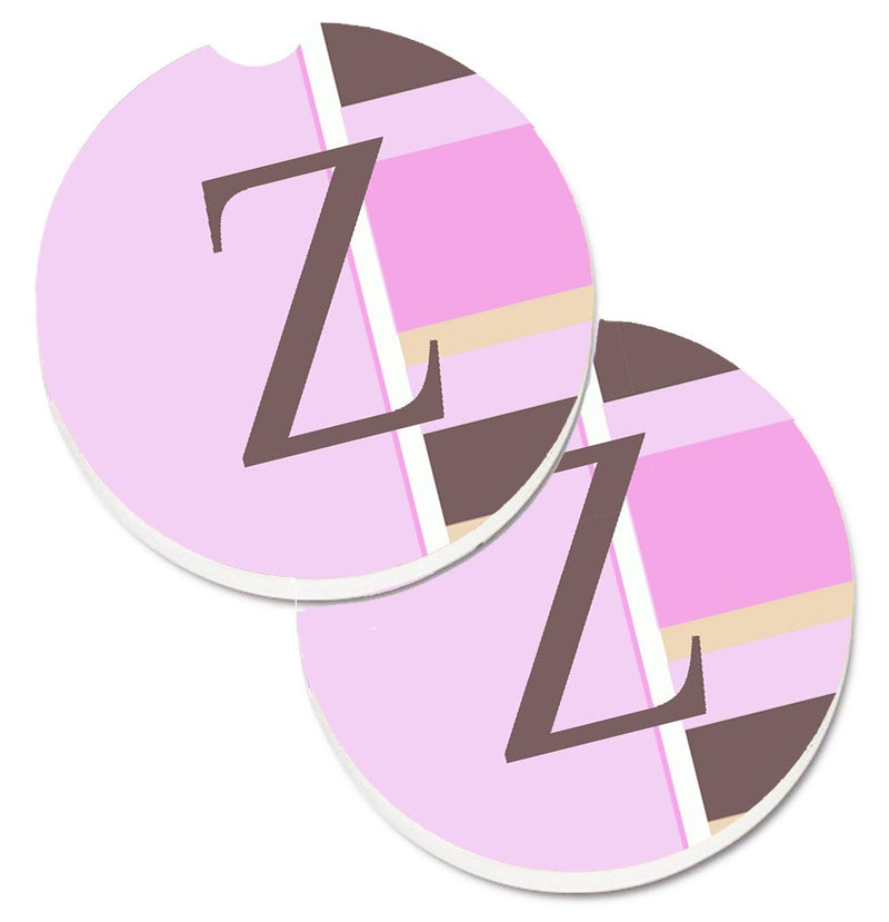 Buy this Letter Z Initial Monogram - Pink Stripes Set of 2 Cup Holder Car Coasters CJ1005-ZCARC