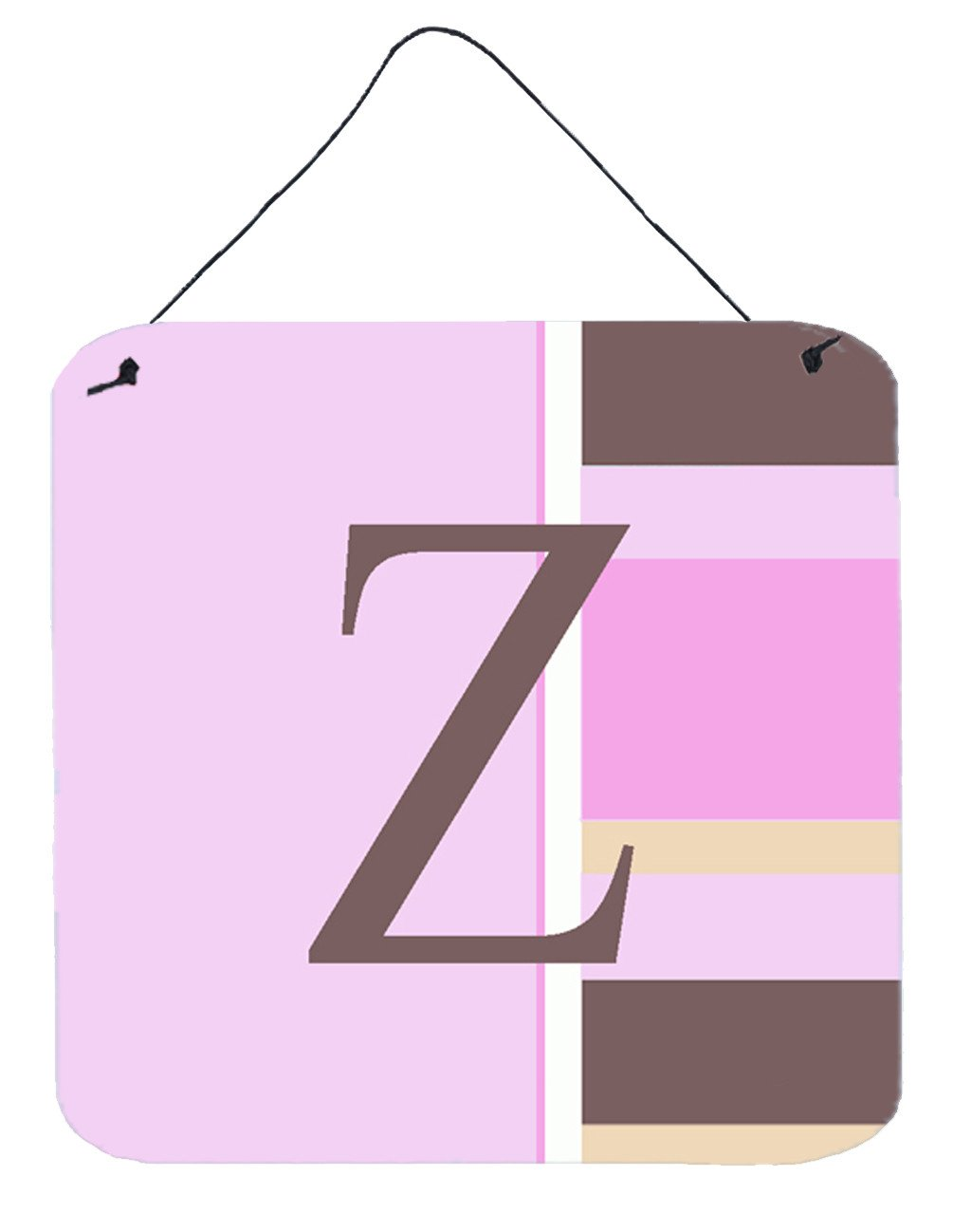 Buy this Letter Z Initial Monogram - Pink Stripes Wall or Door Hanging Prints