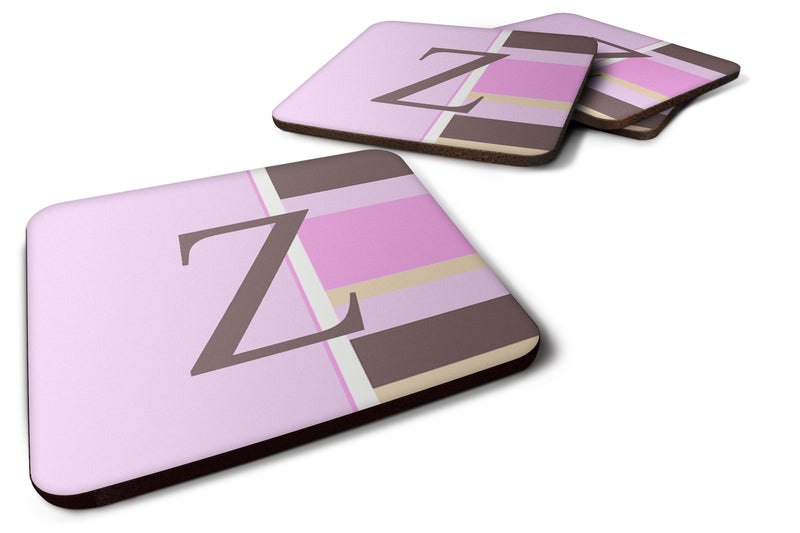 Buy this Set of 4 Monogram - Pink Stripes Foam Coasters Initial Letter Z