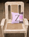 Letter Z Initial Monogram - Pink Stripes Decorative   Canvas Fabric Pillow - the-store.com