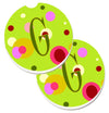 Letter G Monogram - Lime Green Set of 2 Cup Holder Car Coasters CJ1010-GCARC by Caroline's Treasures