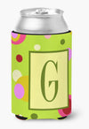 Letter G Initial Monogram - Green Can or Bottle Beverage Insulator Hugger by Caroline's Treasures