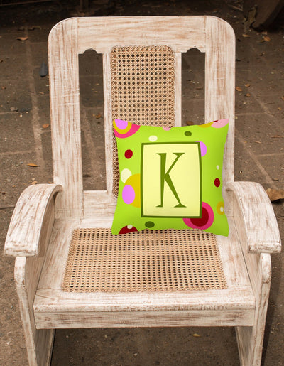 Letter K Initial Monogram - Green Decorative   Canvas Fabric Pillow
