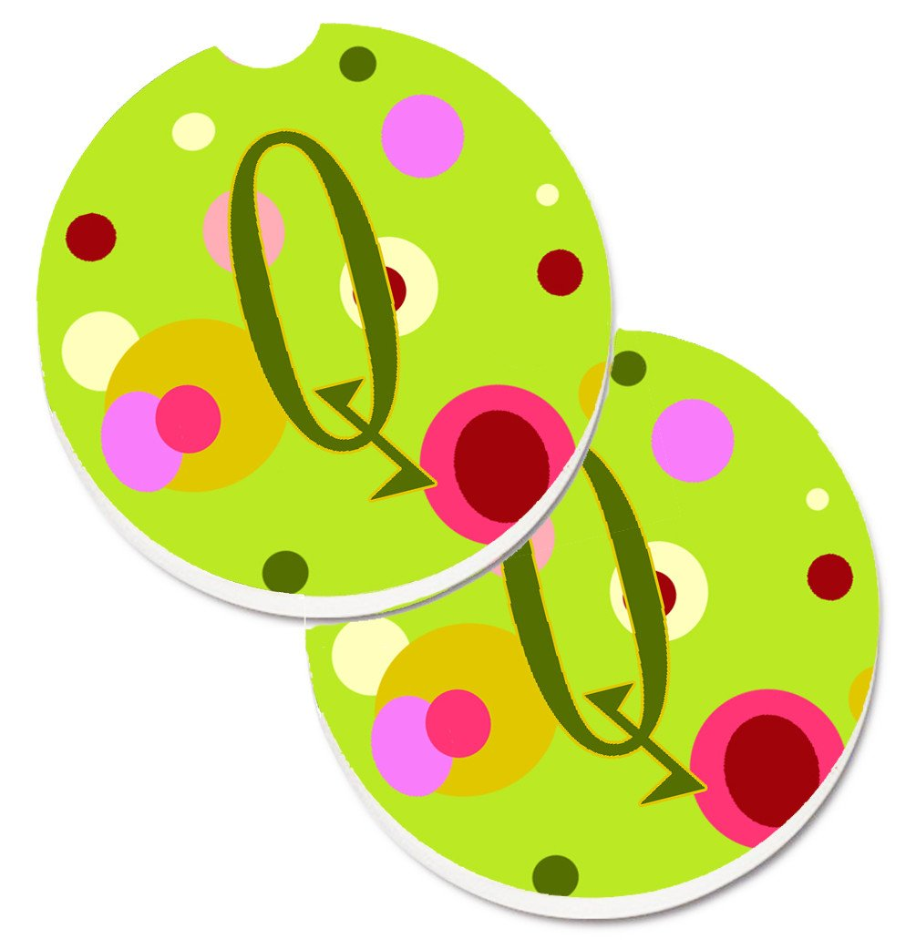 Letter Q Monogram - Lime Green Set of 2 Cup Holder Car Coasters CJ1010-QCARC by Caroline's Treasures