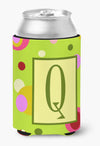 Letter Q Initial Monogram - Green Can or Bottle Beverage Insulator Hugger by Caroline's Treasures