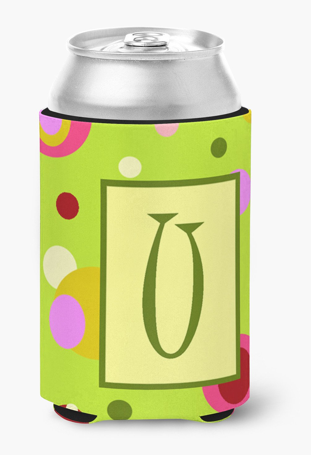 Letter U Initial Monogram - Green Can or Bottle Beverage Insulator Hugger by Caroline's Treasures