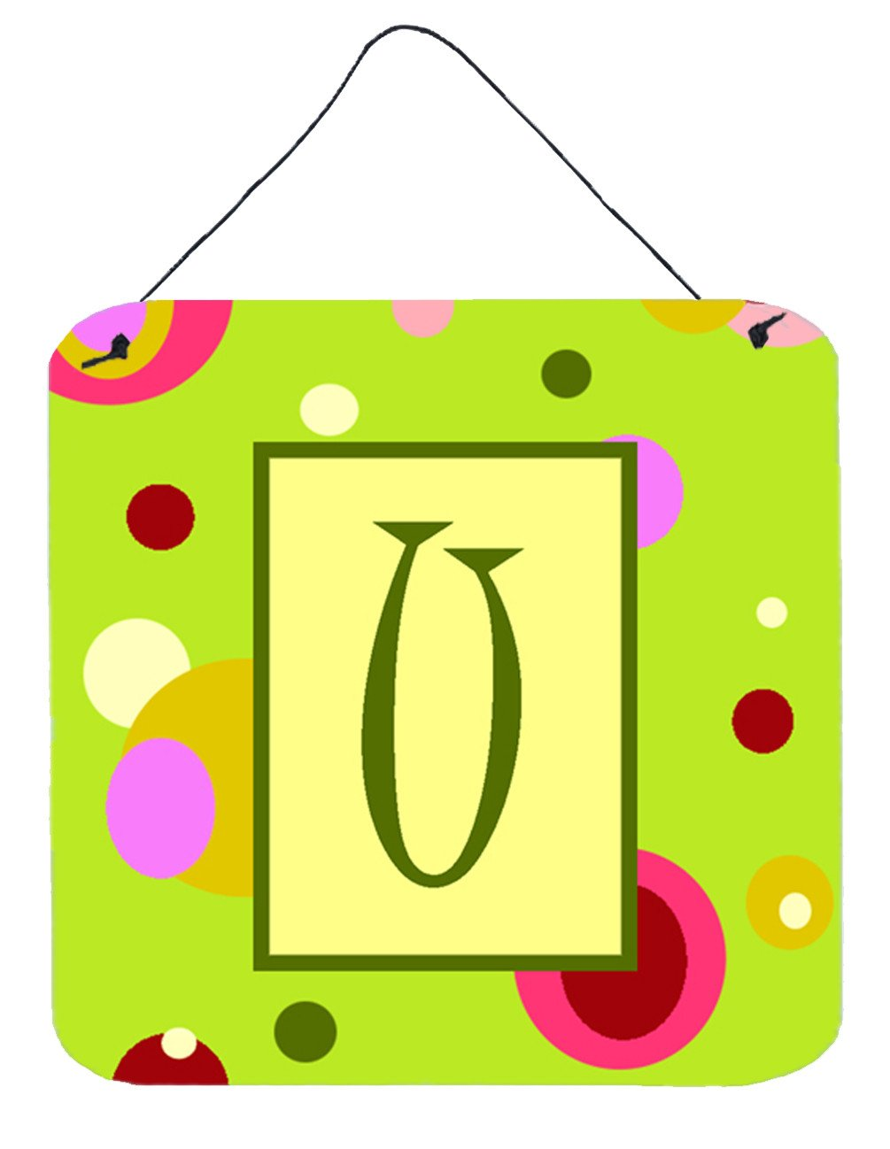Letter U Initial Monogram - Green Aluminium Metal Wall or Door Hanging Prints by Caroline's Treasures