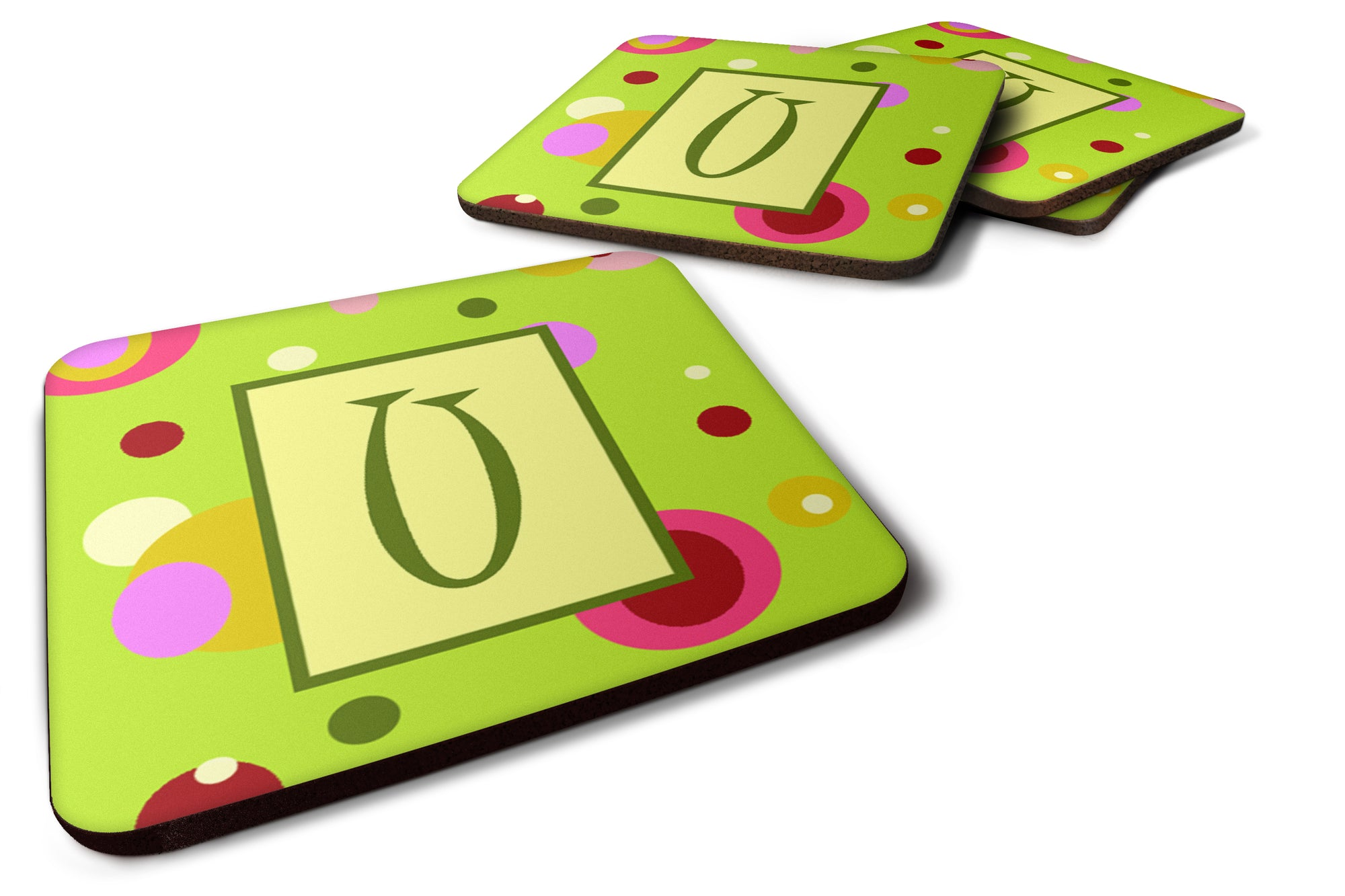 Set of 4 Monogram - Green Foam Coasters Initial Letter U by Caroline's Treasures