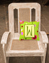 Letter W Initial Monogram - Green Decorative   Canvas Fabric Pillow by Caroline's Treasures