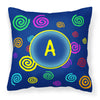 Letter A Monogram - Blue Swirls Fabric Decorative Pillow CJ1011-APW1414 - the-store.com