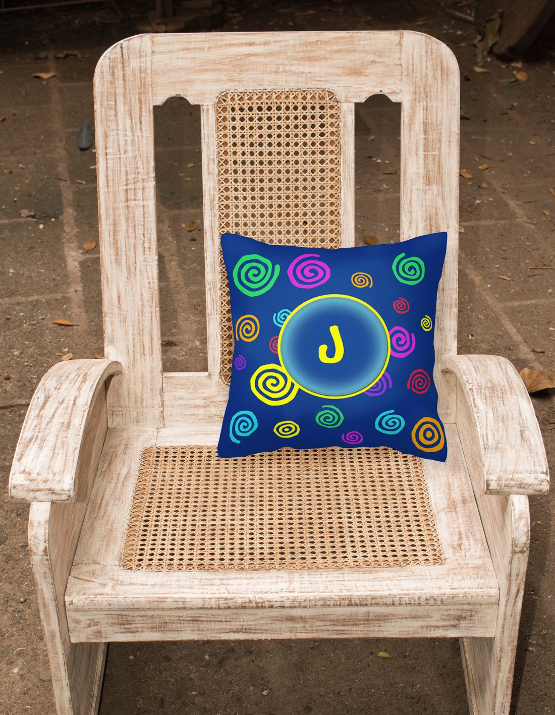 Letter J Initial Monogram - Blue Swirls Decorative   Canvas Fabric Pillow - the-store.com