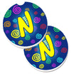 Letter N Initial Monogram - Blue Swirls Set of 2 Cup Holder Car Coasters CJ1011-NCARC by Caroline's Treasures
