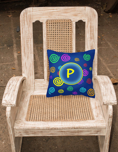 Letter P Initial Monogram - Blue Swirls Decorative   Canvas Fabric Pillow