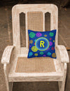Letter R Initial Monogram - Blue Swirls Decorative   Canvas Fabric Pillow - the-store.com