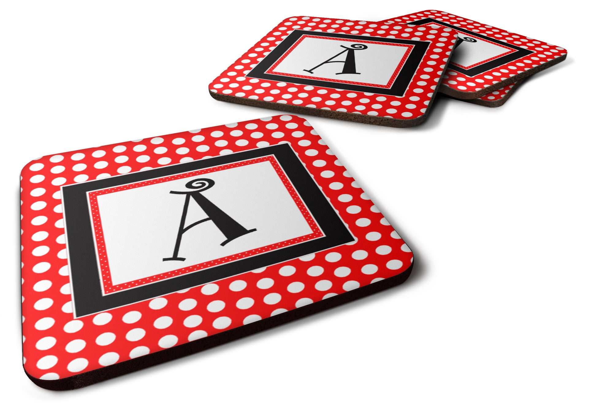 Set of 4 Monogram - Red Black Polka Dots Foam Coasters Initial Letter A by Caroline's Treasures