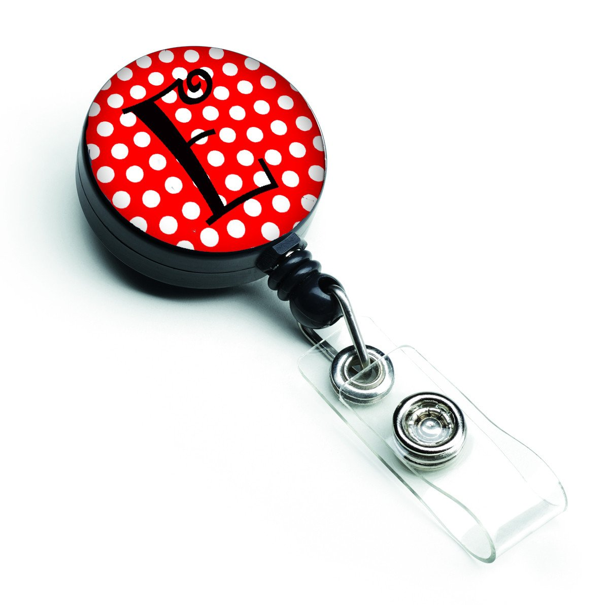 Letter E Initial Monogram Red Black Polka Dots Retractable Badge Reel CJ1012-EBR by Caroline's Treasures