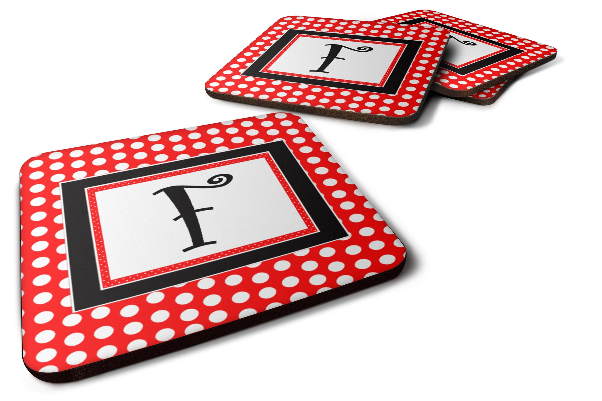Set of 4 Monogram - Red Black Polka Dots Foam Coasters Initial Letter F by Caroline's Treasures