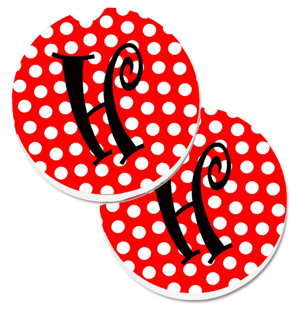 Letter H Initial Monogram Red Black Polka Dots Set of 2 Cup Holder Car Coasters CJ1012-HCARC by Caroline's Treasures