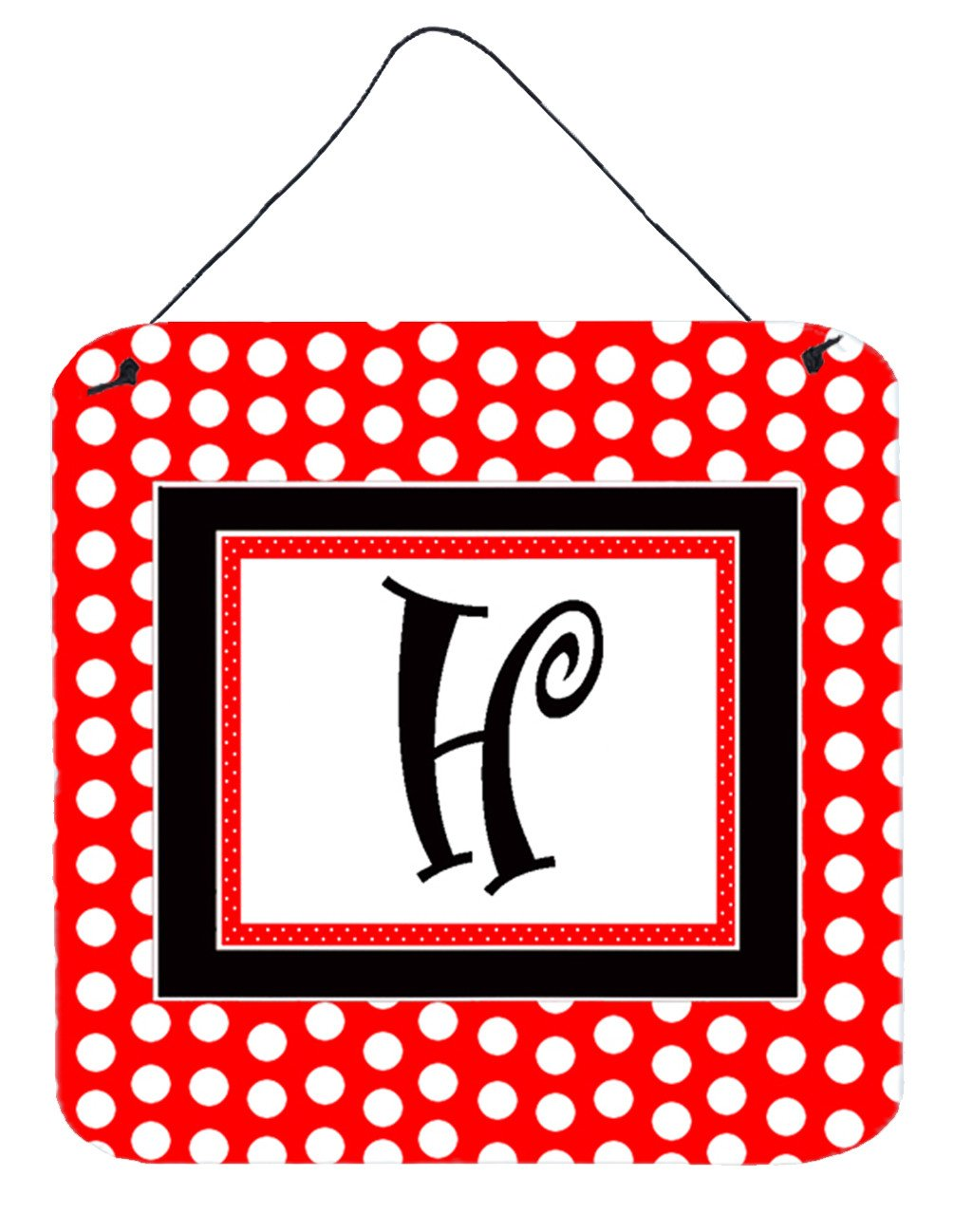 Letter H Initial  - Red Black Polka Dots Wall or Door Hanging Prints by Caroline's Treasures